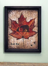 Black Bear & Cub on Maple Leaf Sign with Black Wood Trim