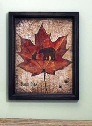 Black Bear & Cub on Maple Leaf Sign with Black Wood Trim