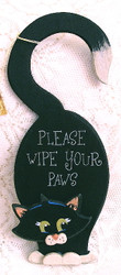 "Black Cat ""Please Wipe Your Paws"" 9.5"" Door Hanger Folk Art"