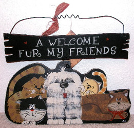 "A Welcome Fur My Friends Cat and Dog 13"" Wood Hanger Folk Art"