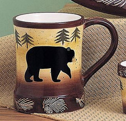 Black Bear & Trees Embossed Pine Cones 12oz Ceramic Mug