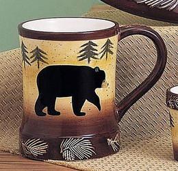 Black Bear & Trees Embossed Pine Cones 12oz Ceramic Mug