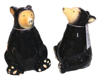 Northwood Black Bears Ceramic SET OF 2 Salt & Pepper Shakers