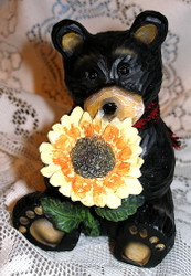 Sweet Northwood Black Bear Smelling Large Sunflower Resin Figurine