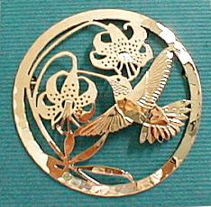 Hummingbird and Lily Flower 14kt Gold Plated Pin Brooch by Wild Bryde