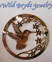 Hummingbird with Gilia Flower Large 14kt Gold Plated Pin Brooch Wild Bryde
