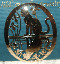 Cat in Iris Flowers Reflection Pin 14kt Gold Plated Pin Brooch Wild Bryde