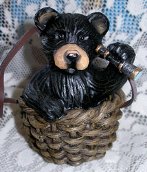 Northwood Black Bear in Wicker Basket with Telescope Resin Figurine 1
