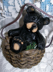 Northwood Playful Black Bear in Wicker Basket Resin Figurine 2