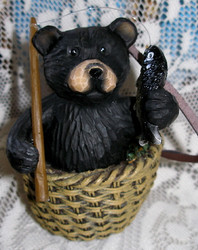 Northwood Black Bear in Wicker Basket with Fish and Pole Resin Figurine 4