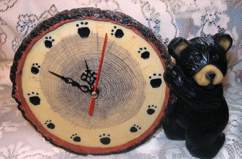 "Sweet Black Bear Cub Resin 8"" Desk Clock with Paw Prints"