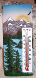 "Majestic Snow Capped Mountain Trees Lake 7"" Resin Thermometer"