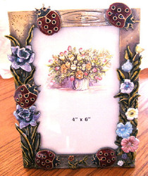Red Ladybugs and Flowers Enamel Pewter Picture Frame 6x4