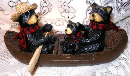 Sweet Northwood Black Bear Family Riding in Canoe Resin Figurine