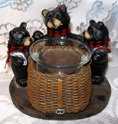 Northwood Black Bear around Fishing Basket Resin Candle Holder