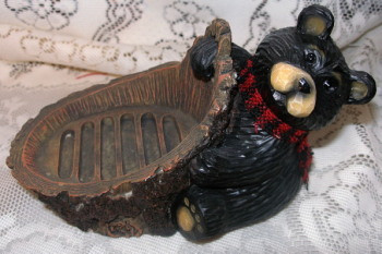 "Sweet Northwood Black Bear Large 7.25"" Resin Soap Dish"