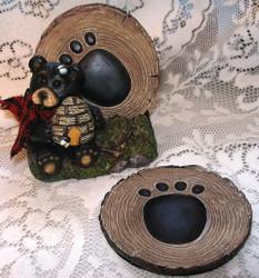 Northwood Black Bear with Bee Hive Honey S/4 Coaster & Holder Set
