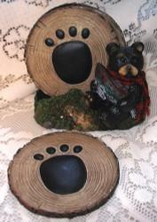 Northwood Black Bear with Big Fish S/4 Coaster & Holder Set