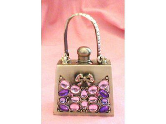 Pink and Purple Jeweled Handbag Purse Pewter Perfume Bottle