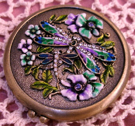 Bejeweled Green Dragonfly and Lavender Flowers Enamel Brass Compact with Mirror