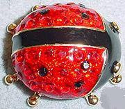 Stunning Red Ladybug Austrian Crystal Large Pin Brooch