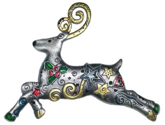Cute Holiday Reindeer with Stars and Holly Enamel Pewter Pin Brooch