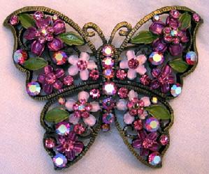 Butterfly Purple Amethyst Austrian Crystal Enamel Pin