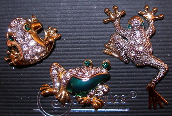 Frog Clear Austrian Crystal and Enamel Set of Three Pins Brooch