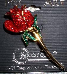 Stunning Single Red Rose Flower Austrian Crystal Pin Brooch