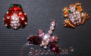 Ladybug Frog Dragonfly Austrian Crystal and Enamel Pin Set of Three