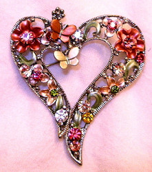 Fancy Heart with Butterfly and Flowers Enamel Austrian Crystal Pin