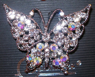 Lovely Butterfly with Aurora Borealis Austrian Crystal Pewter Pin Brooch