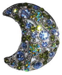 Celestial Jeweled Austrian Crystal Moon and Stars Pin Brooch