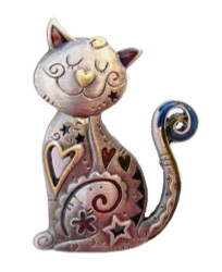 Smiling Happy CAT Kitten Pewter PIN with Color Enamel Accents