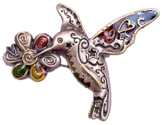 Lovely Hummingbird and Flower with Enamel Color Accents Pewter Pin