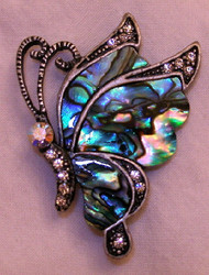 Lovely Butterfly Abalone Shell and Austrian Crystals Pewter Pin Brooch