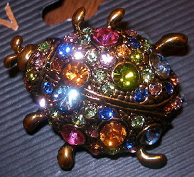 Stunning Ladybug with Multi Colored Austrian Crystals Pewter Pin