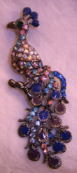 Lovely Peacock Bird Enamel Austrian Crystal Pin Brooch