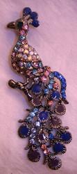 Lovely Peacock Bird Enamel Austrian Crystal Pin Brooch