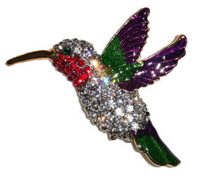 Ruby-Throated Hummingbird Enamel & Austrian Crystal Brooch Pin