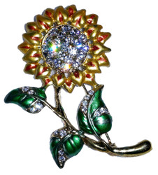 Stunning Yellow Sunflower Enamel and Austrian Crystal Pin Brooch