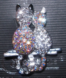 Stunning Two Kitty Cats on Fence Austrian Crystal Enamel Pin