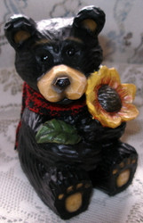 Sweet Northwood Black Bear Holding Big Sunflower Resin Figurine