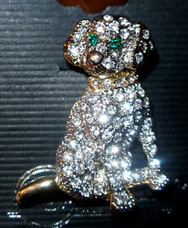 Stunning Labrador Puppy Dog Austrian Crystal Pewter Pin