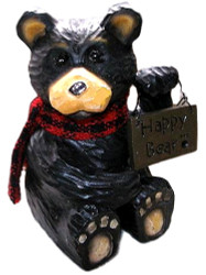 "Cute Northwood Black Bear Holding ""Happy Bear"" Sign Resin Figurine"