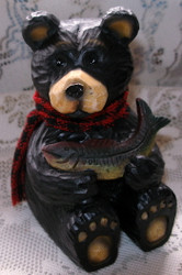 Proud Northwood Black Bear with Big Fish Resin Figurine