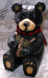 Cute Northwood Black Bear Holding Leather Backpack Resin Figurine