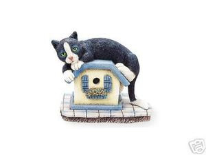 Cute Black and White Tuxedo Cat on Birdhouse Cat Figurine
