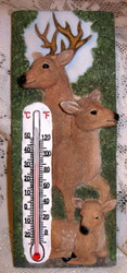 "Woodland Deer Family Buck Doe Fawn in Trees 7"" Resin Thermometer"