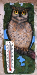 "Woodland OWL Bird Sitting in Tree 7"" Resin Thermometer"